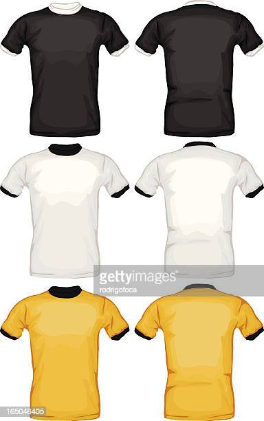 Black, White and yellow Ring Tee Shirts VECTOR Front Back