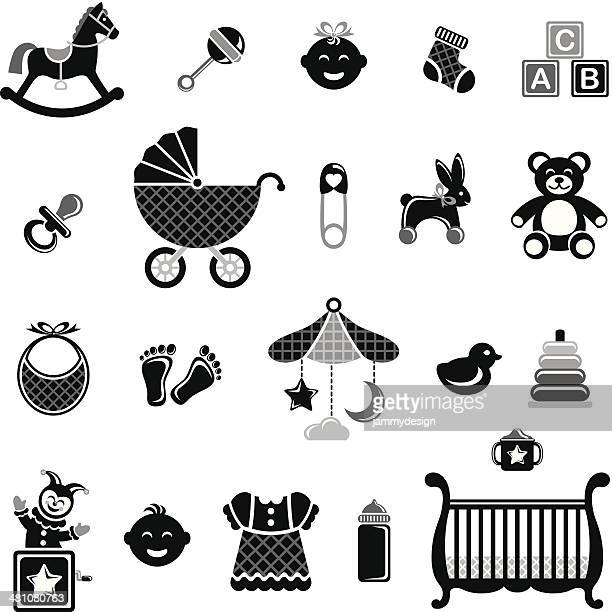 illustrations, cliparts, dessins animés et icônes de noir ensemble d'icônes blanc & bébé - diable à ressort