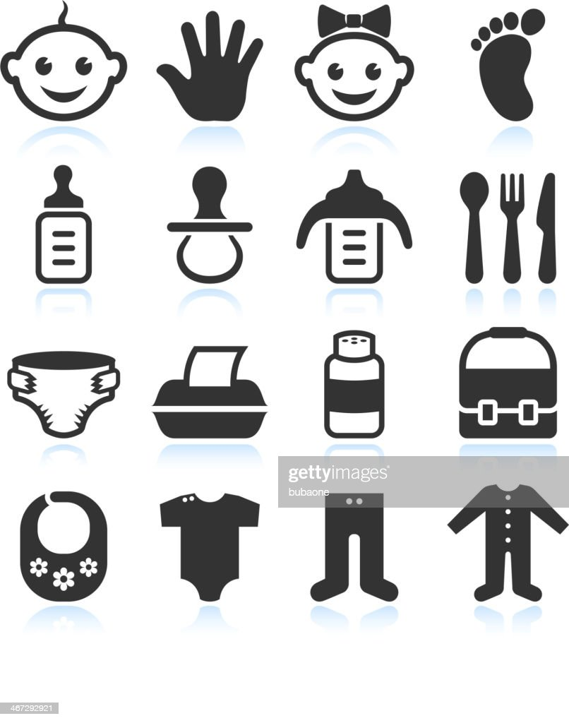 Black & White Baby royalty free vector icon sets