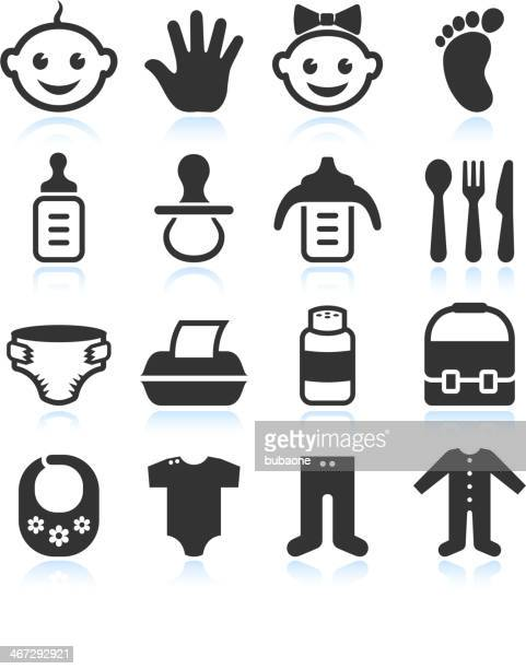 black & white baby royalty free vector icon sets - hands in her pants stock illustrations