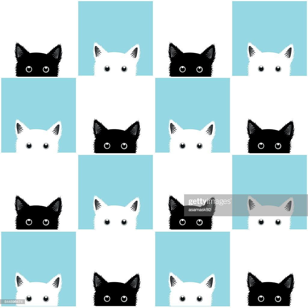 Black White Blue Cat Chess board Background