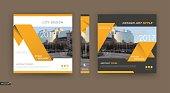 Black, white brochure cover design.. Yellow triangles icon fiber