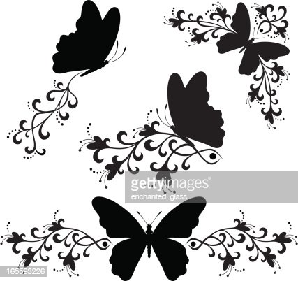 butterfly silhouette art black white butterfly silhouette vector getty images 1192