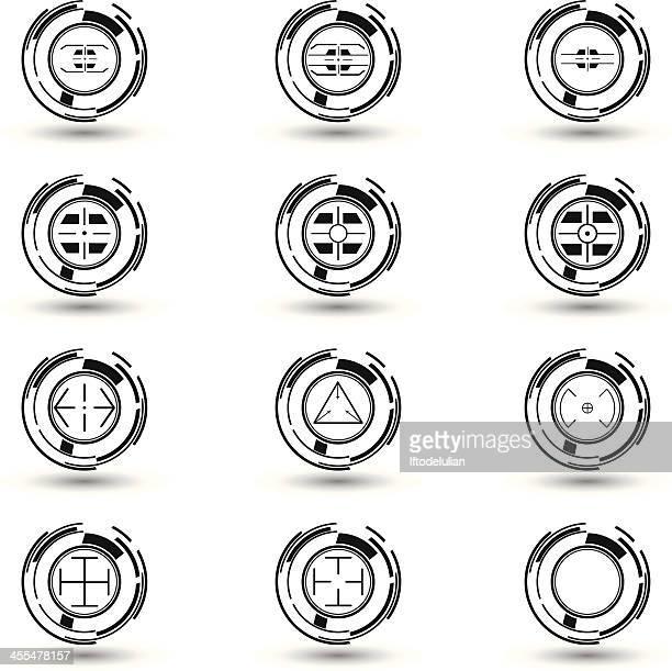 black & white crosshairs set 3 - m14 stock illustrations, clip art, cartoons, & icons