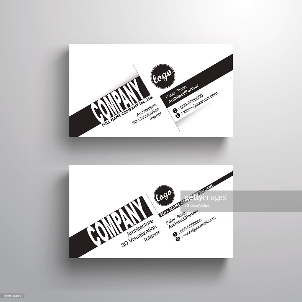 black white design typography name card template, minimalist style, vector