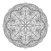 Black white doodle circular mandala with a boho pattern. Coloring for adults.