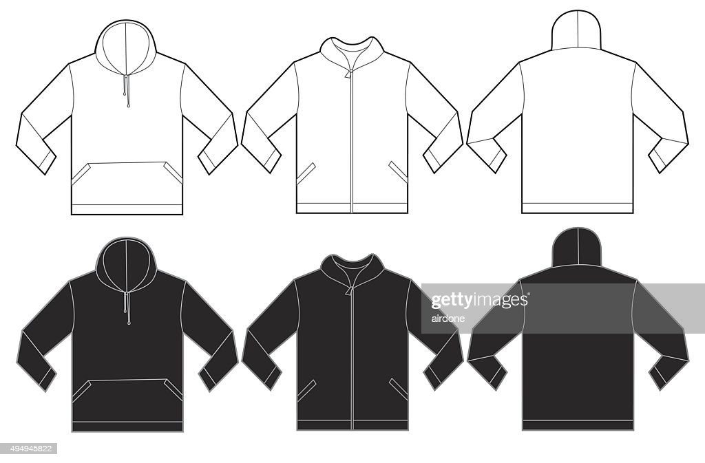 Black White Hoodie Sweatshirt Design Template