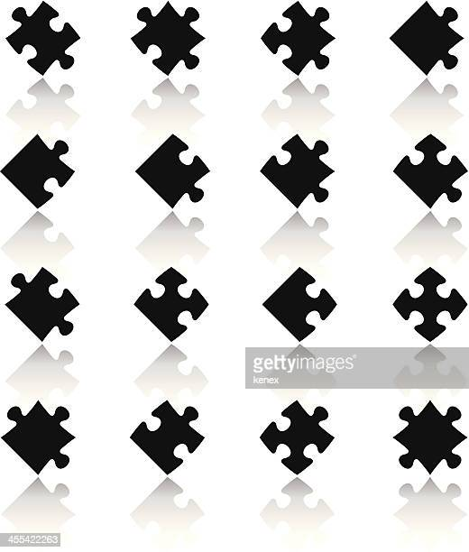 black & white icons set | puzzle pieces - jigsaw piece stock illustrations, clip art, cartoons, & icons