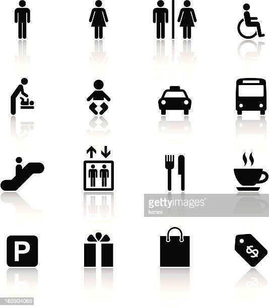 Black & White Icons Set | Shopping Mall