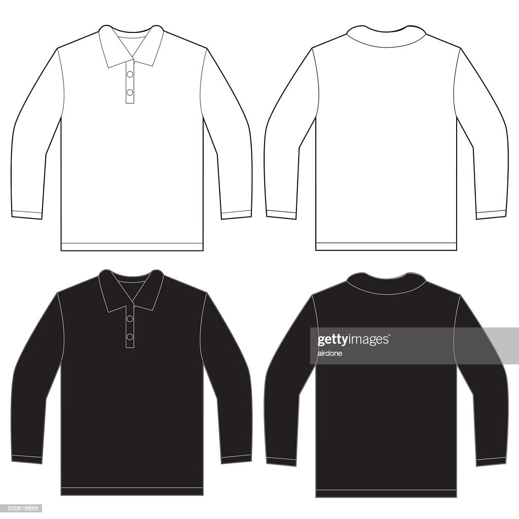 Black White Long Sleeve Polo Shirt Design Template