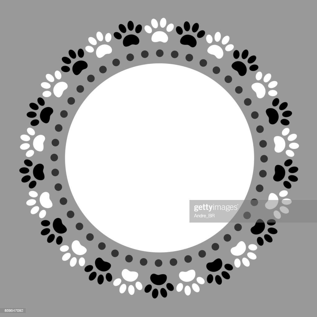 Black white paw prints pet round frame