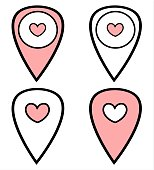 black white pink cute map pointer set with heart icon vector illustration