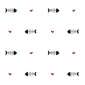 black white red seamless vector pattern background illustration with fish bones and hearts