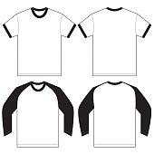Black White Ringer T-Shirt Design Template