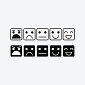 Black white square icon of Emoticons. Rank, level satisfaction rating