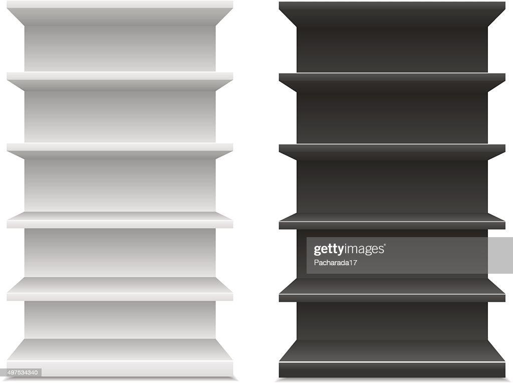 black & white supermarket shelf