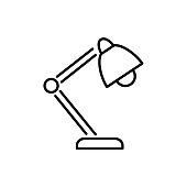 Black & white vector illustration of balanced arm table lamp. Line icon of modern desktop light fixture. Home & office illumination. Task lighting. Isolated on white background