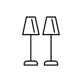 Black & white vector illustration of pair of buffet table lamps. Line icon of traditional desktop light fixture. Home & office illumination. Isolated on white background