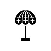 Black & white vector illustration of stained glass table lamp. Flat icon of vintage desk light fixture. Home & office illumination. Isolated on white background
