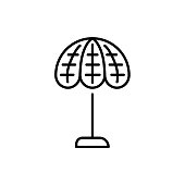 Black & white vector illustration of stained glass table lamp. Line icon of vintage desktop light fixture. Home & office illumination. Isolated on white background