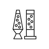 Black & white vector illustration of table lava lamps with bubbles. Line icon of modern desktop light fixtures. Home & office illumination. Isolated  on white background