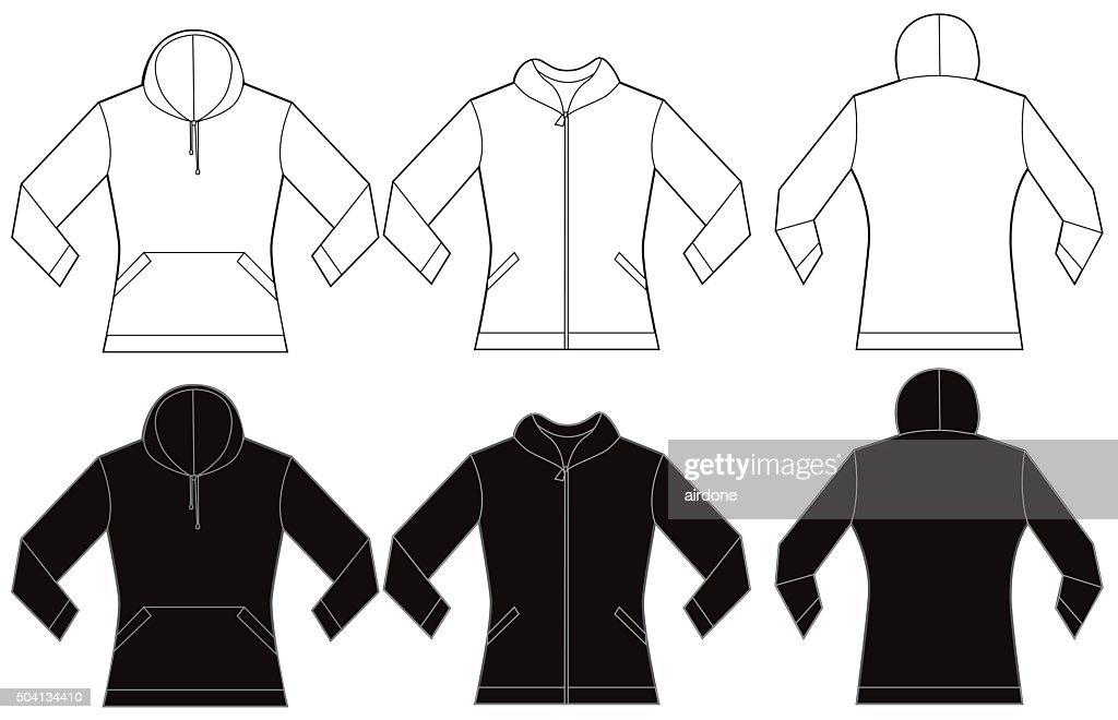 Black White Women's Hooded Shirt Design Template