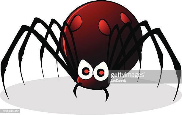 black widow cartoon - black widow spider stock illustrations, clip art, cartoons, & icons
