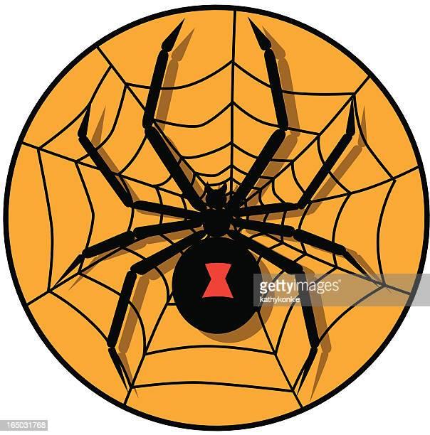 black widow spider icon - black widow spider stock illustrations, clip art, cartoons, & icons