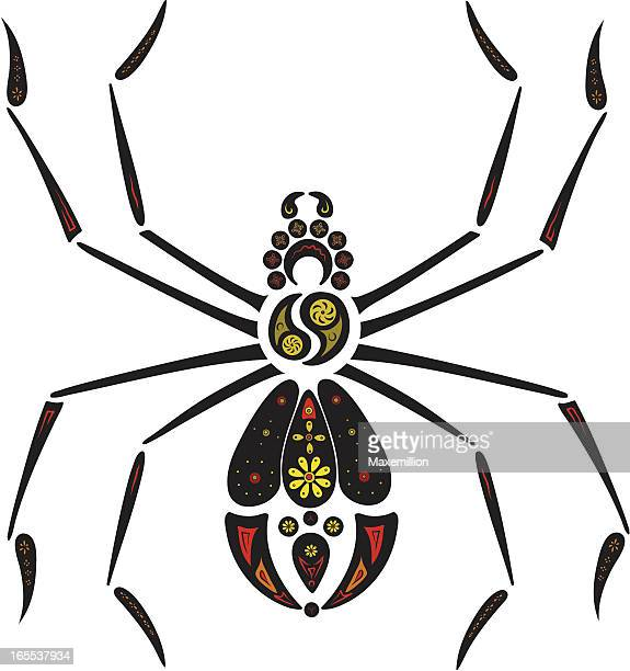 black widow with coloured flowers. - black widow spider stock illustrations, clip art, cartoons, & icons