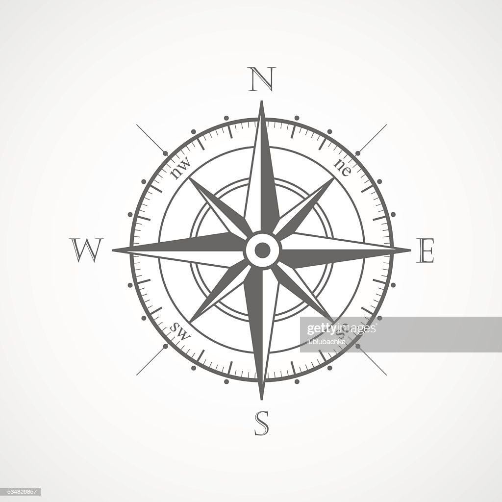 Black wind rose isolated vector illustration