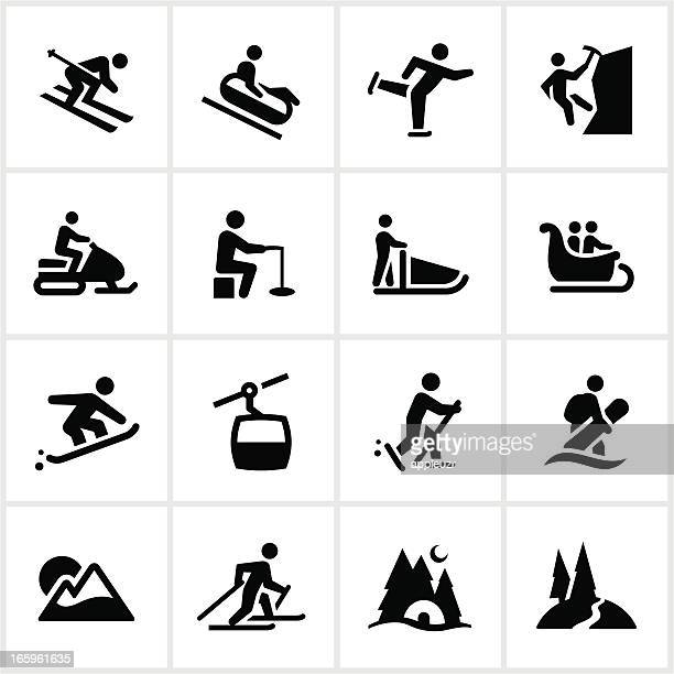 black winter adventure icons - tobogganing stock illustrations, clip art, cartoons, & icons