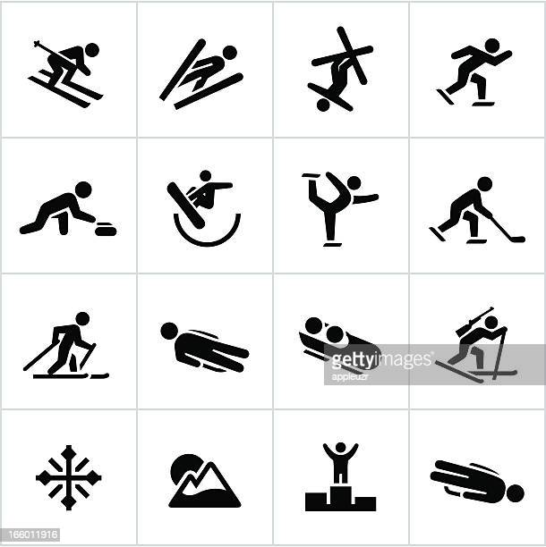 black winter sports/games icons - figure skating stock illustrations