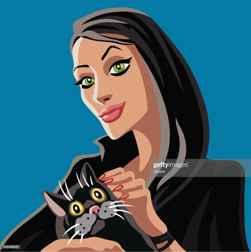 Black witch petting black cat.Vector illustration.