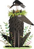 Black Wolf and Crow Sitting on Head Friendship