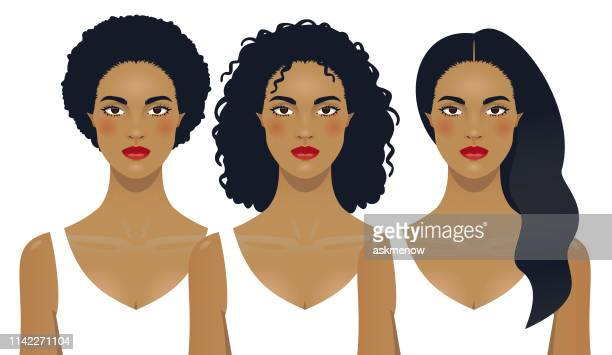 black woman hair - black hair stock illustrations