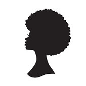 Black Woman with Afro Hair Silhouette Vector Illustration