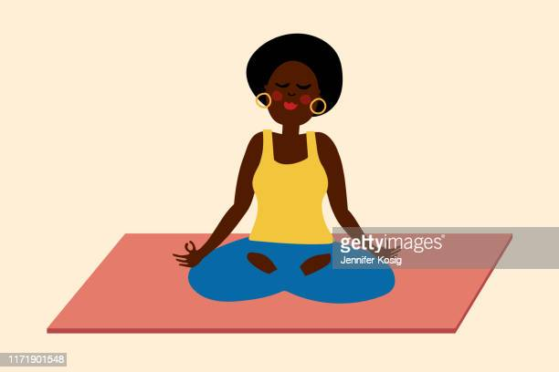 black woman yoga meditation illustration - relaxation stock illustrations