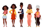 Black women of different ages from youth to maturity