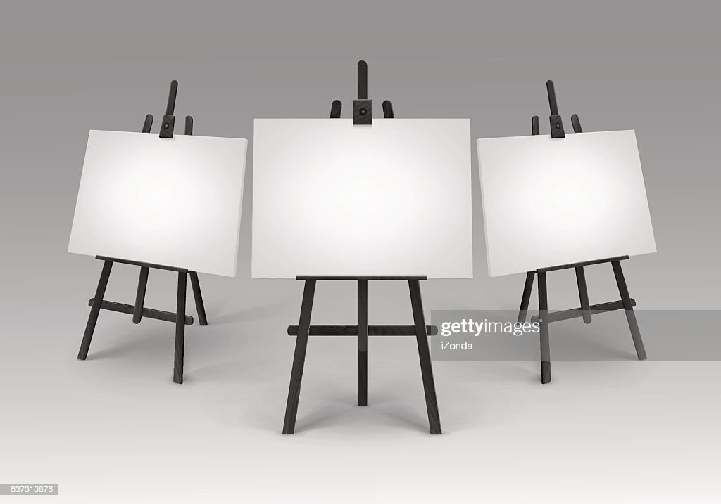 Black Wooden Easels with Mock Up Canvases Isolated