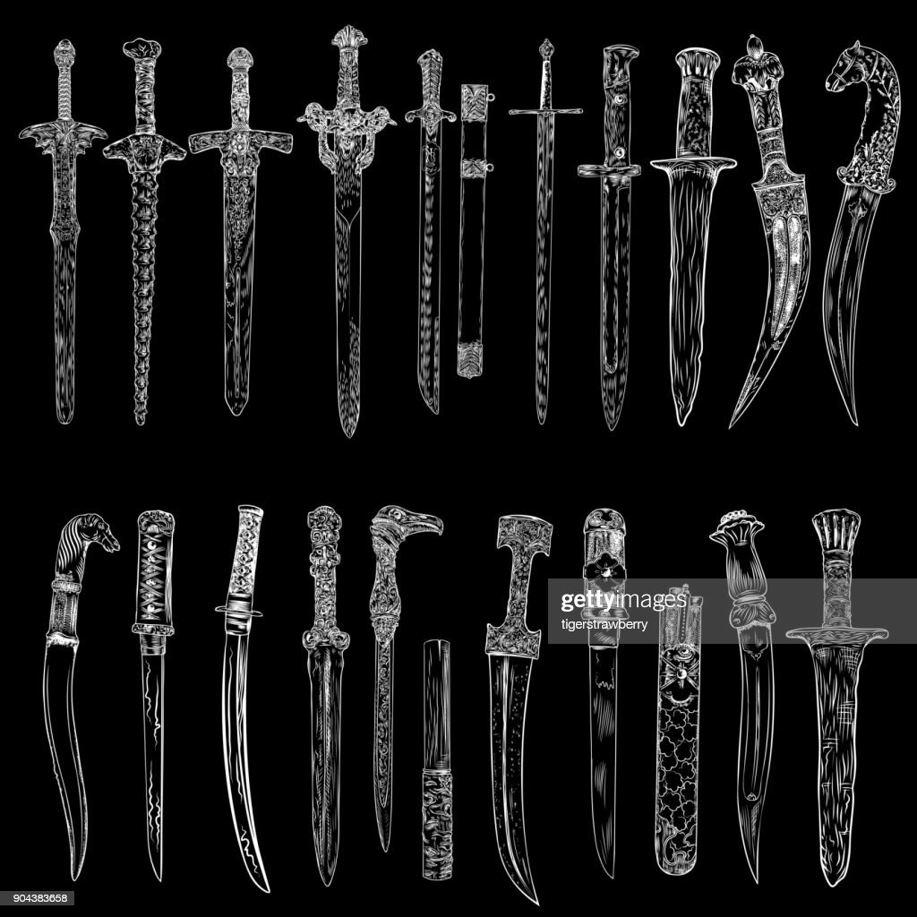 Black work tattoo art hand drawn engraving style medieval knife, dagger, sword for flesh body art. Vintage sketch edged antique weapons. Vector.