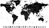 Black World Map and Globe Icons - illustration