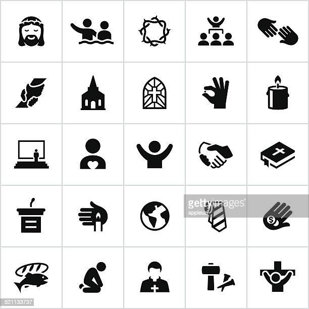 black worship icons - christianity stock illustrations