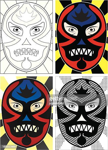 black wrestling mask - black mask disguise stock illustrations