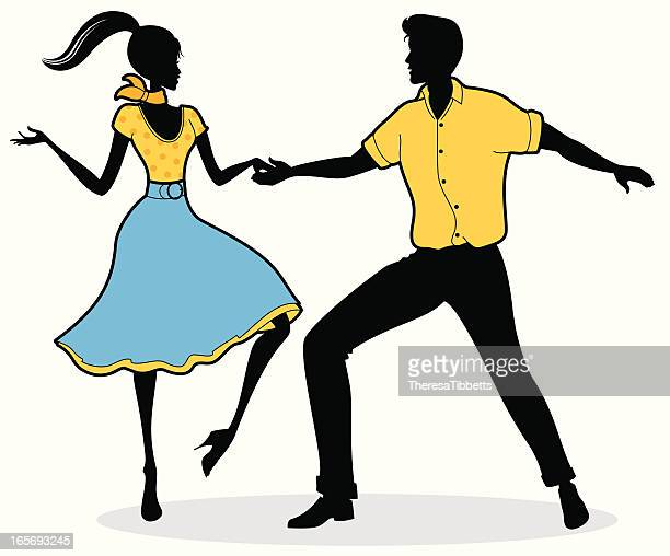 black yellow and blue jive dancers illustration - swing dancing stock illustrations