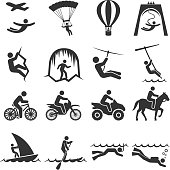 Black-and-white adventure travel icon set