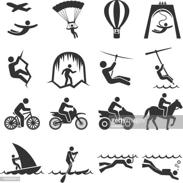 illustrations, cliparts, dessins animés et icônes de noir-et-blanc ensemble d'icônes de voyages d'aventures - vtt