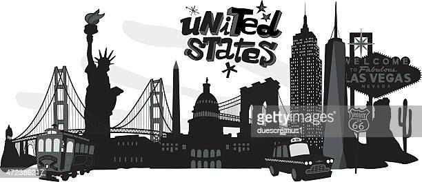 Black-and-white cartoon collage of various USA landmarks
