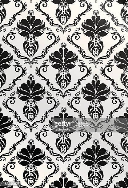 black-and-white floral pattern - brocade stock illustrations