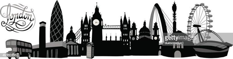 Blackandwhite Illustrated London Skyline Vector Art ...  London Skyline Black And White