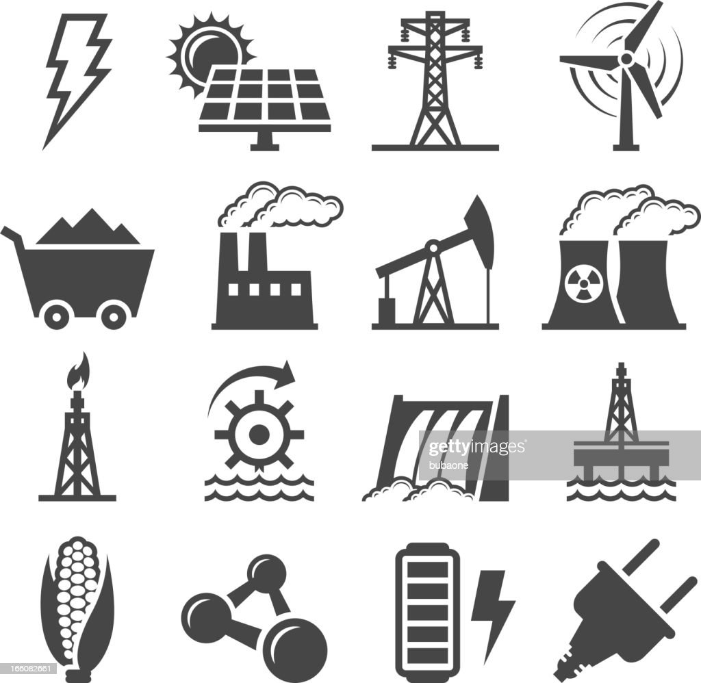 Black-and-white set of alternative energy icons